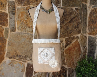 Burlap lace and doily bag