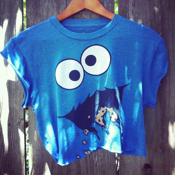Vintage style Reworked Cookie monster hipster crop shirt