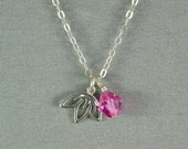Sterling Silver Cherry Blossom Charm and SWAROVSKI Crystal Bead Necklace, Birthstone, 925 Sterling Silver Chain, Beautiful Necklace