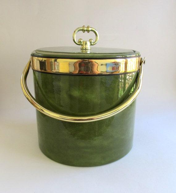 Vintage Kraftware Avocado Green Ice Bucket By