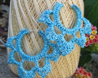 Teal Glow in the Dark Crocheted Hoop Earrings