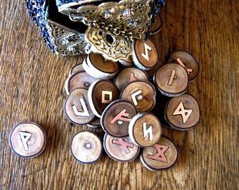 Runes. Wooden Runes. Elder Futhark Runes. Wooden and copper runes