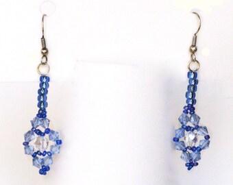 Beaded Blue Jeweled Pierced Earrings