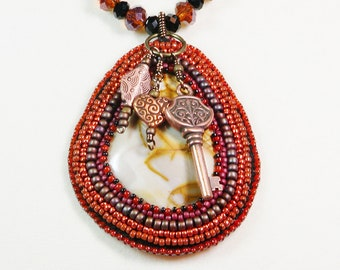 Stone Necklace Bead Embroidery, Beaded Bezel, Copper Charms