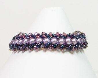 Purple Bead Weaving Bracelet, Flat Spiral Bracelet