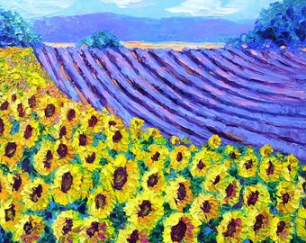 "Sunflower Field Painting - Original Oil Landscape Palette Knife Impasto on Small 9x12"" Canvas"