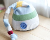 UpCycled Newborn Boy Hat stripes with blue button (photo prop, handmade)