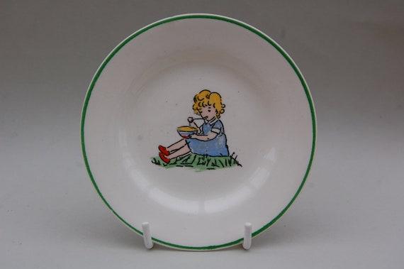 VINTAGE Small Little Miss Muffett Plate, Vintage Nursery Rhyme Plate
