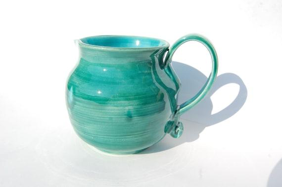 Handmade Green Teal Pitcher/Jug, Kitchen Decor