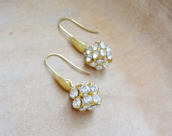 Diamond Cube Earrings - Rhinestone and Brass