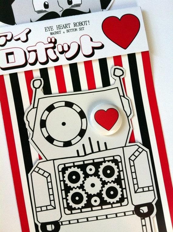 "EYE HEART ROBOT Magnet and 1"" Pinback Button Set"