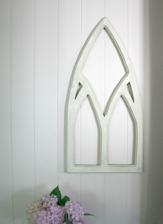 Vintage White Architectural Piece for Home Decor cathedral window arch cottage shabby chic