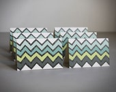 mini notecards . geometric chevron note cards . stationery. modern .  aqua green blue chevron . blank cards . note card set of 6 .