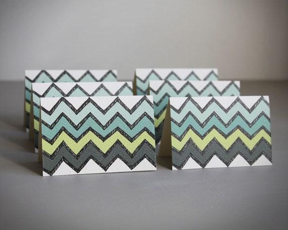 mini notecards . geometric chevron note cards . stationery. modern .  aqua green blue chevron . blank cards . note card set of 6 .