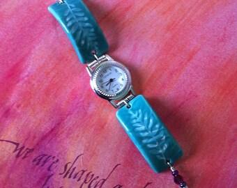 Sandcarved Leaf Design on  Green Ceramic Watch