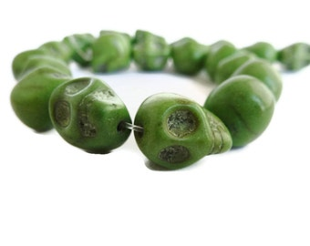 Green Howlite Skull Beads 12mm (1.5 mm hole) 20 items