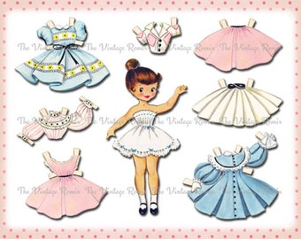 INSTANT DOWNLOAD, Paper Doll Digital Printable Collage Sheet Vintage-Inspired