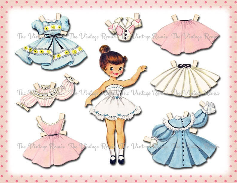 Instant Download Paper Doll Digital Printable Collage Sheet