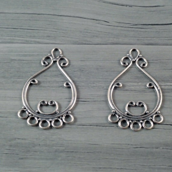 Jewelry Components, Chandelier Forms, Swirly Sterling Silver Earring Findings--1 pair