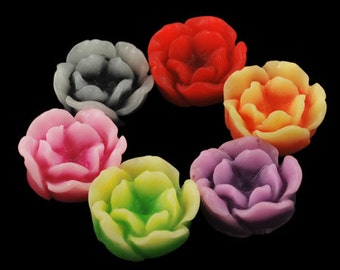Flower Cabochons Resin Flowers Flat Back Flowers Peony Flowers 13mm Flower Flatbacks Assorted Cabochons 50 pieces