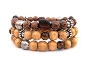 Wooden stacked beaded stretch bracelets handmade burgundy, member of The Artisan Group