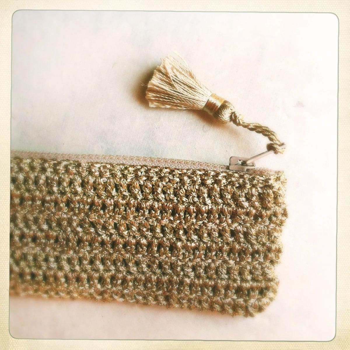 Golden Crochet Pencil Case