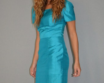 Vintage electric turquoise dress