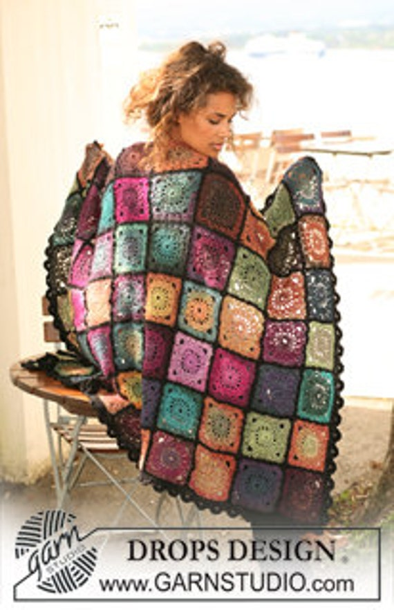 LISTING FOR ELSA ------ Granny Square afghan, super quality 100% wool crocheted blanket,  unique throw
