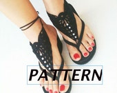 INSTANT DOWNLOAD pattern,DIY tutorial, Barefoot Sandals, Nude shoes, Foot jewelry, Wedding, Victorian Lace, Sexy, Lolita, Yoga, Anklet