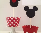 Mickey and Minnie Mouse Cupcake Wrappers and Toppers Kit