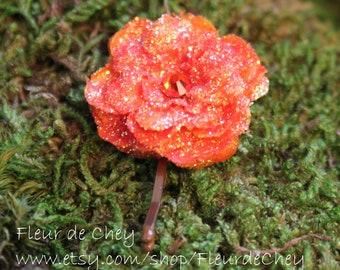 Glittered Orange Rose Bobby Pin- Handmade Floral Headpiece