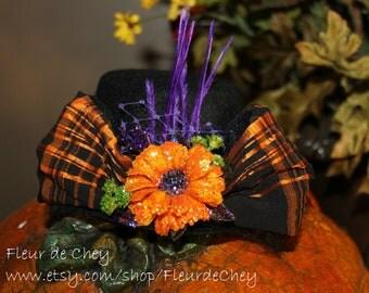 Glittered Orange Daisy, Black & Orange Bow on Black Velvet Top Hat Fascinator- Handmade Halloween Headpiece