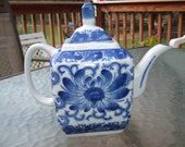 Vintage Floral Blue & White, Ceramic Nantucket Teapot