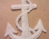 Vintage White Satin Stich Anchor Applique