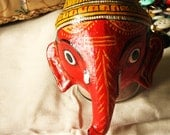 Vintage Painted Clay Ganesh Wall Hanging Mask from India