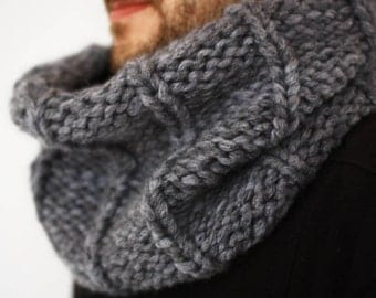 Mens Knit Scarf Chunky Cowl, Snood, Mens clothes, Circle Mens Scarf, Anniversary Gift for Him, Mens Gift, Boyfriend Gift, Winter Scarf