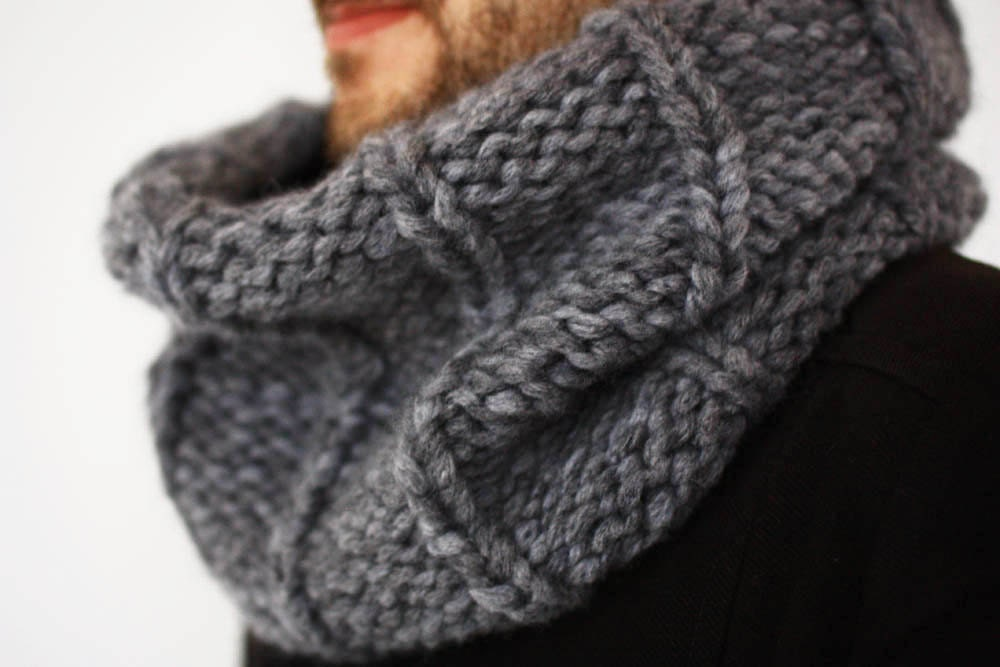 Mens Cowl Knitting Pattern : Mens Knit Scarf Chunky Cowl Snood Mens clothes Circle Mens