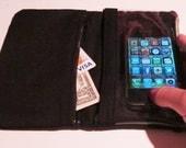 "iPhone 5/Droid Wallet and Case ""SmartWallet"" Water-Resistant (Designer Black Cotton) CUSTOM"