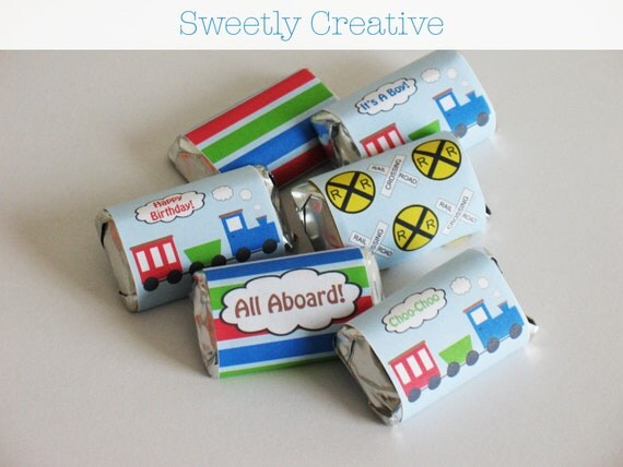 Train Mini Chocolate Candy Bar Wrappers - INSTANT DOWNLOAD - Printable Digital File