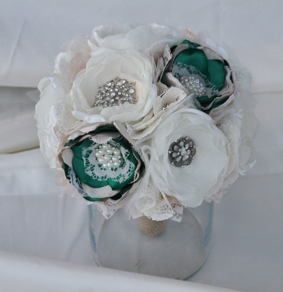 Custom Order: Ivory and emerald , Fabric Wedding Bouquet, with brooches - Sample for Jelena - SOLD