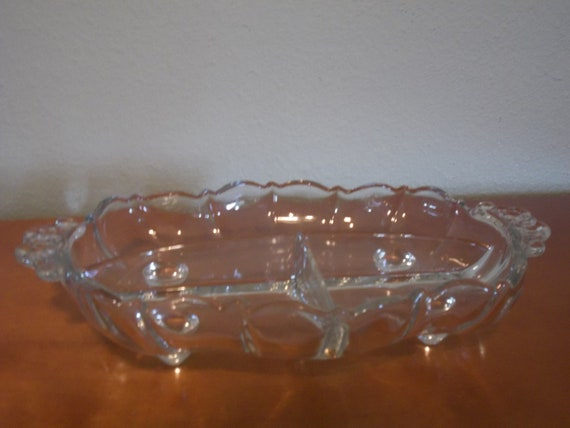 Clear Galss Divided Serving Bowl with Three Sections