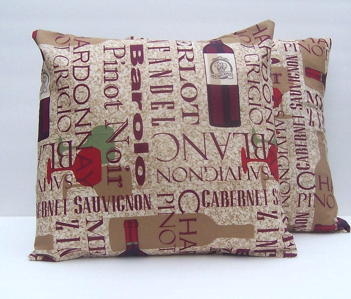 2 Wine Themed Pillow Covers Throw Pillows Toss Pillows