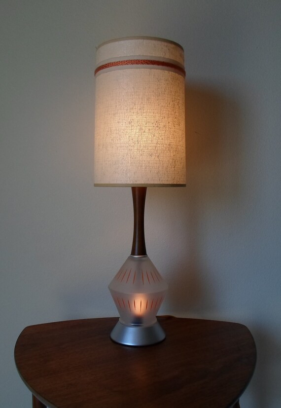 Vintage Mid Century Modern Table Lamp with Lamp Shade Frosted Glass Base  Teak or Walnut   Orange  Atomic  Night Light   Lamp  Lighting