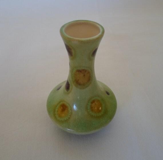 Vintage 1973 Ceramic  Little Flower Vase Mid Century Modern  Polka Dots Green Brown Gold  Retro