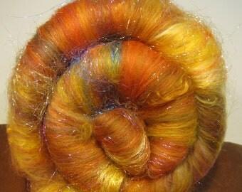 ENCHANTED FOREST 4.0 oz, fiber art batt for spinning, Fine-tooth drum carded, sparkle galore, art yarn fiber, textured bling batt