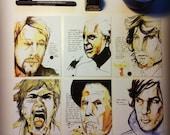 6 Postcards of Original Art Portraits with Quotes - Set 2