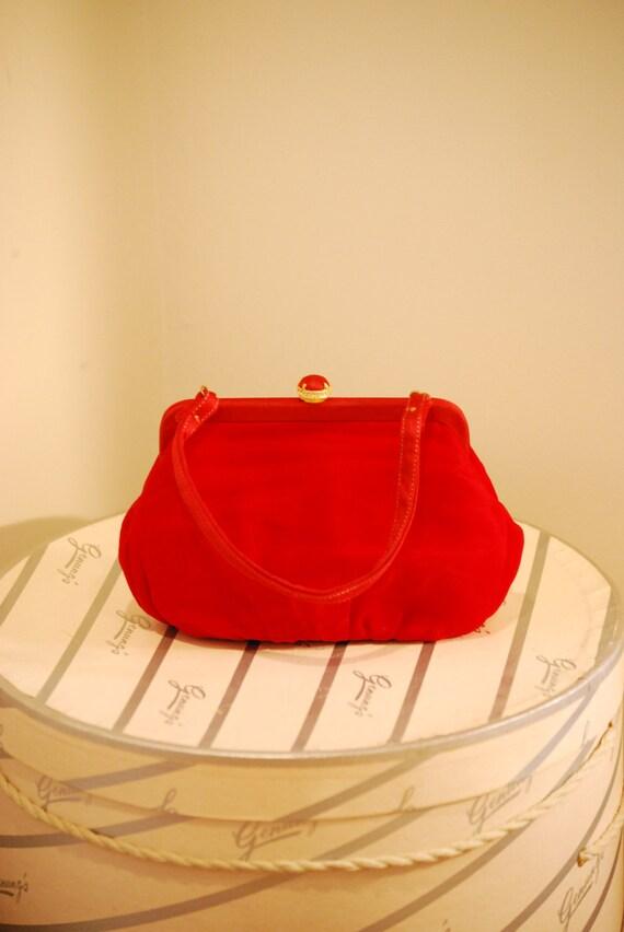 Vintage 1950s Lipstick Red Handbag / 50s Formal Cocktail Bag with Coin Purse
