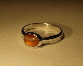 Dainty Sterling Silver bezel ring with Orange Banded Agate