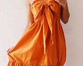 Party Princess Sweet Orange Mini Dress cotton