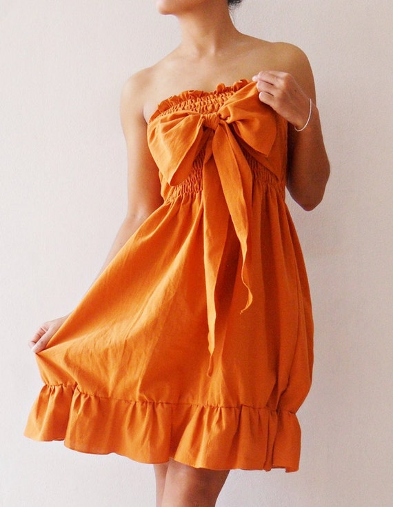 Party Princess Sweet Orange Mini Dress cotton